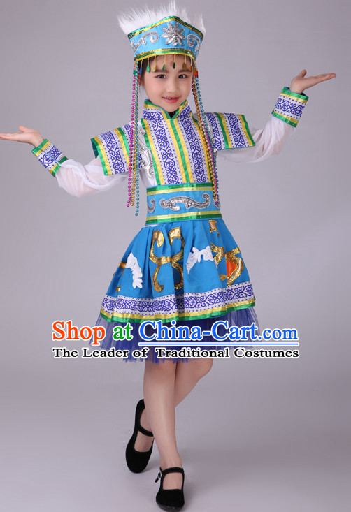 Chinese Mongolian Kids Minority Dance Dress China Fan Dance Costume Ribbon Dance Costumes Folk Dance Suit