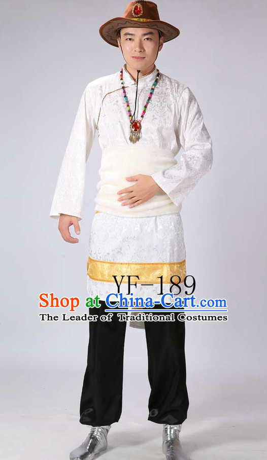 Chinese Tibetan Minority Men Dance Dress China Fan Dance Costume Ribbon Dance Costumes Folk Dance Suit