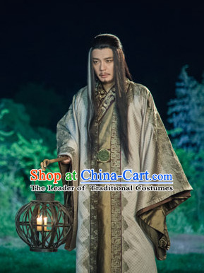 Chinese Ancient Swordsman Kung Fu Master Costumes Complete Set for Men