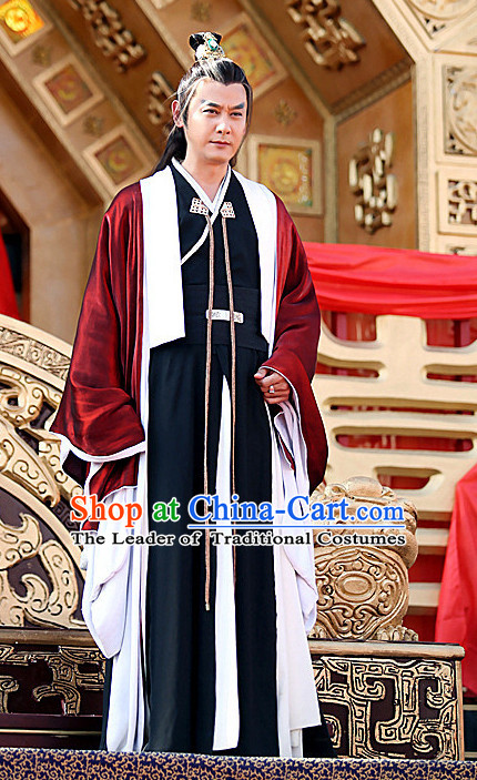Chinese Ancient Swordsman Hero Costumes and Hair Ornaments Complete Set