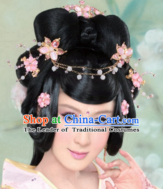 Chinese Ancient Princess Black Wigs Hair Accessories Headpiece Headdress