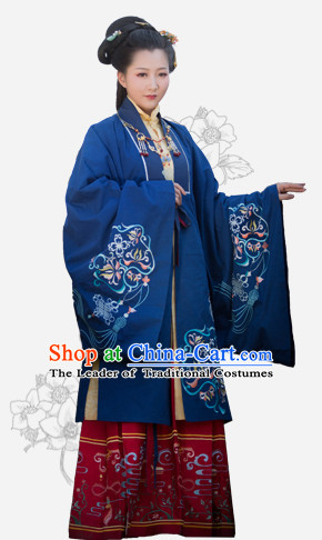 Chinese Traditional Ming Dynasty Royal Stage Hanfu Hanbok Kimono Feitian Costume Dresses Costume Ancient Fairy Garment and Headpieces Complete Set