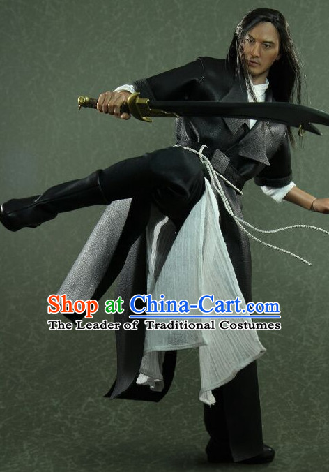 Chinese Classical Swordsman Hanfu Dress Hero Gown Costumes Ancient Superhero Costume Clothing Complete Set