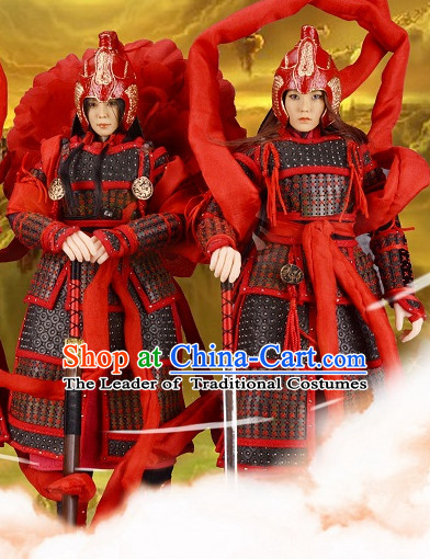 Chinese Classical General Warrior Body Armor Hanfu Dress Gown Costumes Ancient Costume Clothing Complete Set