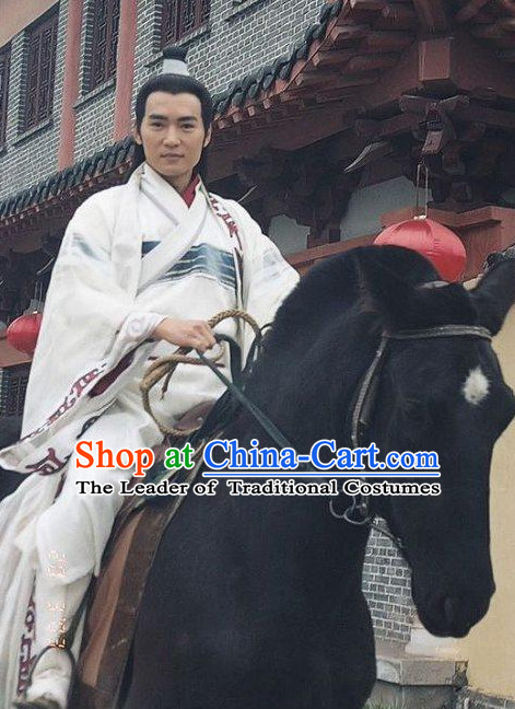 Chinese Men Knight Costume Stage Drama Costumes Parade Costume Complete Set