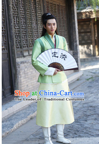 Chinese Men Swords Costume Stage Drama Costumes Han Fu Costume Complete Set