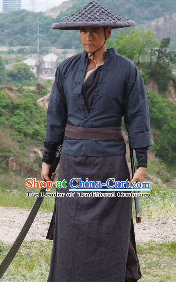 Chinese Ancient Swords Men Kung Fu Costumes and Bamboo Hat Straw Hat Complete Set