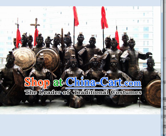 Chinese Ancient Terra Cotta Body Armor Costumes Dresses and Headpieces Complete Set for Men