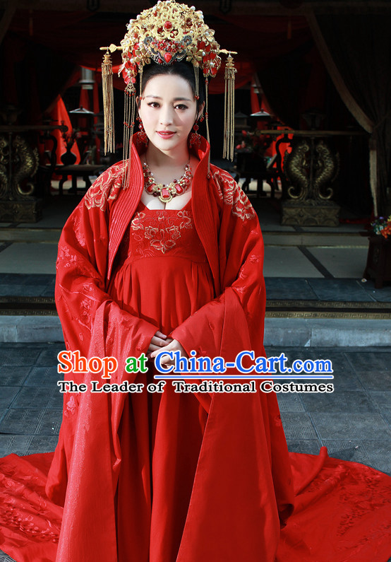 Chinese Ancient Han Dynasty Empress Imperial Dresses and Hat Complete Set for Women