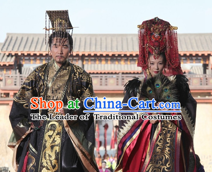 Chinese Ancient Emperor and Empress Imperial Dresses and Hats Complete Set for Men and Women