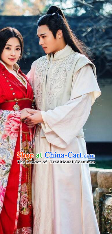 Chinese Ancient Palace Prince Costumes and Headwear Complete Set for Men