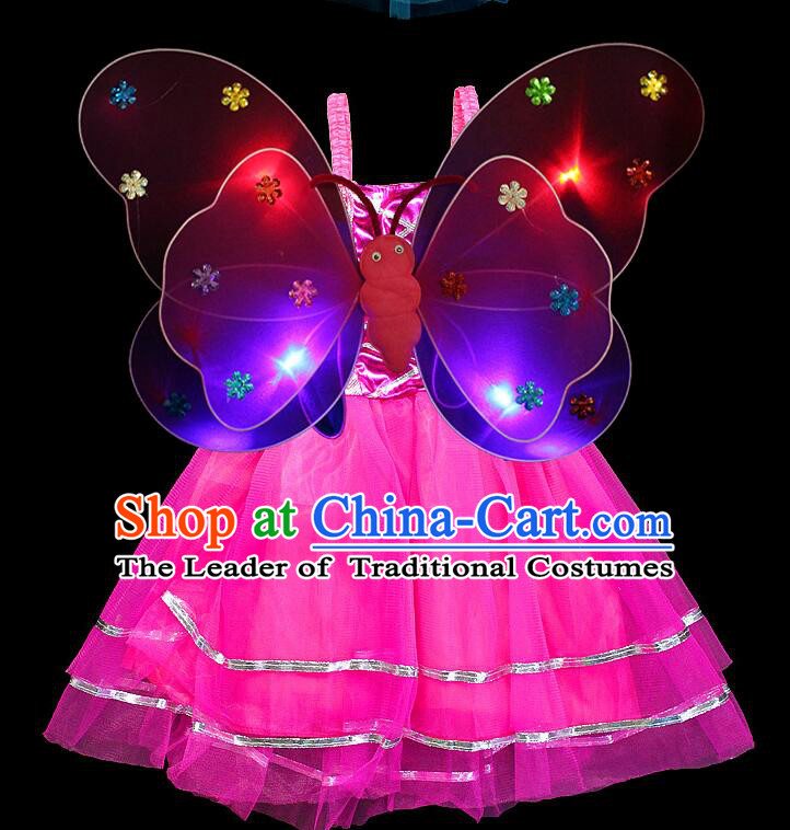 LED Lights Butterfly Dance Costumes Dancing Costume Complete Set for Kids Children Girls