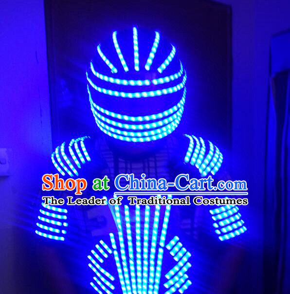 LED Lights Fancy Costume Silver Dance Costumes Dancing Costume Complete Set for Kids Adults Men Boys