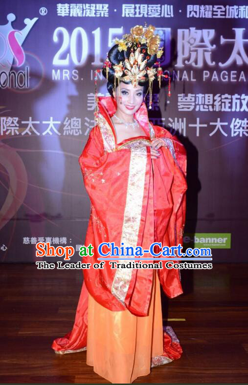 Ancient Chinese Empress Costumes Dancing Costume and Headpieces Complete Set for Kids Adults Girls Women