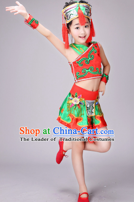 Chinese Yangge Dance Costume Ribbon Dance Costumes Fan Dance Dancer Dancing Dresses for Kids