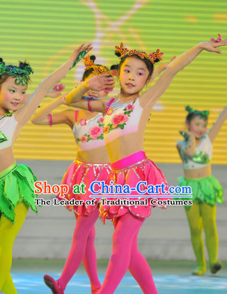 Chinese Stage Flower Dance Costume Dance Costumes Fan Dance Umbrella Ribbon Fans Dance Fan Water Sleeve Costume for Women or Children