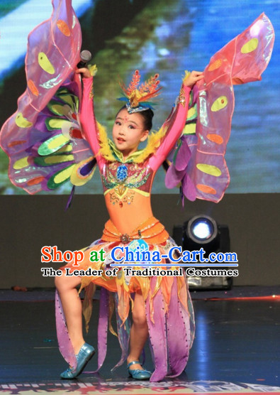 Chinese Stage Butterfly Dance Costume Dance Costumes Fan Dance Umbrella Ribbon Fans Dance Fan Water Sleeve Costume for Children Girls