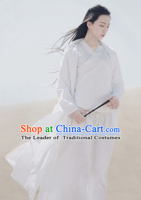 Ancient Chinese White Hanfu Costumes Historical Dress Traditional National Costume Complete Set