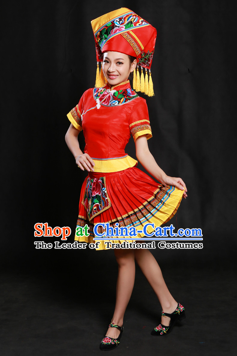 Chinese Zhuang Minority Dresses Ethnic Clothing Minority Dance Costume Minority Dress Complete Set for Women