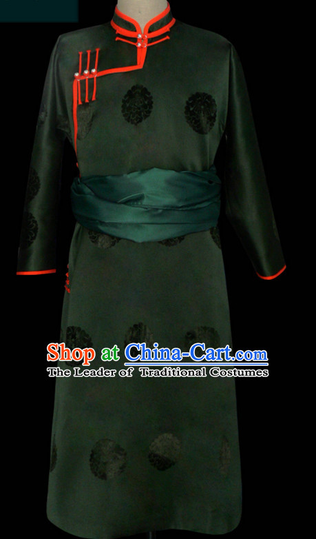 Mongolian Minority Emperor Mongol Long Robe Mongolia Prince Clothing Ethnic Traditional Costumes Complete Set
