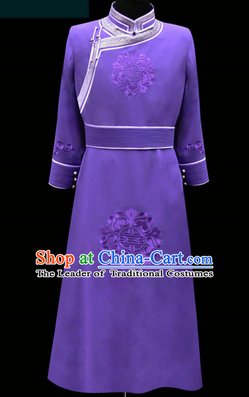 China Mongolian Minority Emperor Mongol Blue Long Robe Mongolia Prince Clothing Ethnic Traditional Costumes Complete Set