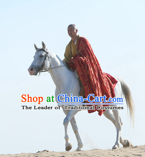 Chinese Ancient Tang Seng Monk Clothing Costumes Complete Set for Men