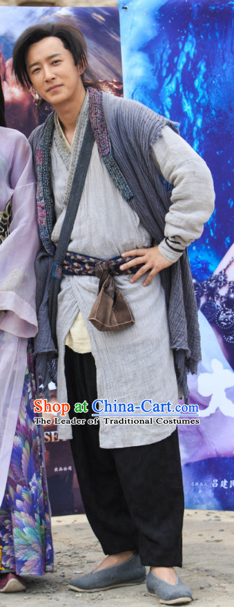 Chinese Ancient Swordsman Zhi Zunbao Clothing Costumes Complete Set for Men