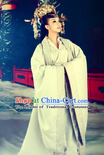 Chinese Classical Princess Hanfu Clothes Costumes Clothing and Headpieces Complete Set for Women