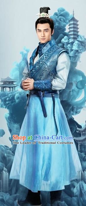 Ancient Chinese Royal Highess Imperial Prince Clothes Costumes Clothing and Hair Accessories Complete Set for Men