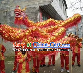 NEW 10 Meters Ten Adults Competition and Parade Red Gold Dragon Dance Costume Complete Set