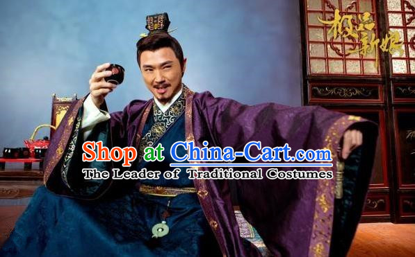 Traditional Chinese Costume Chinese Ancient Royal Nobility Old Men Dress, Ming Dynasty Prince Robe Costume for Men