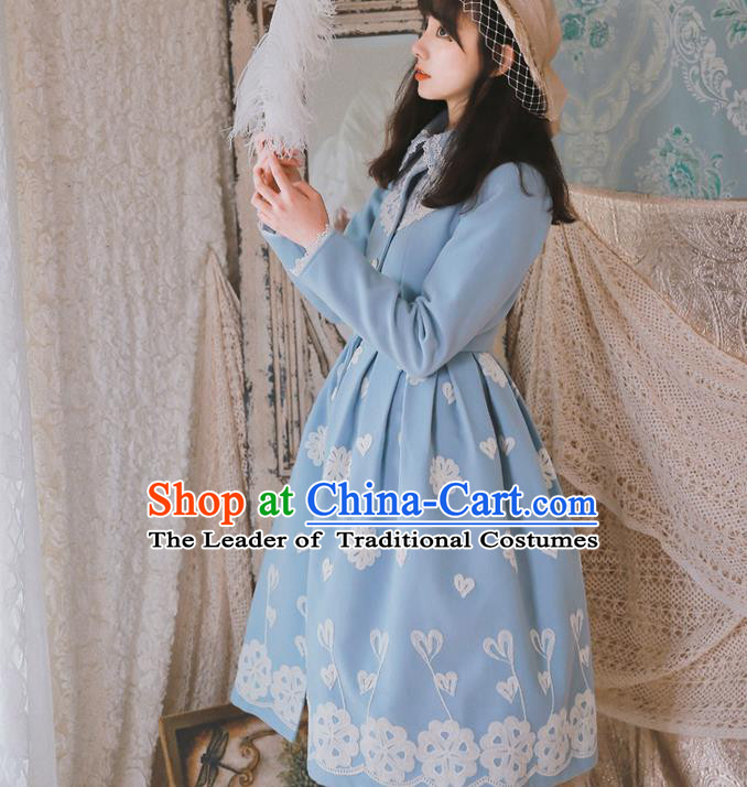 Traditional Classic Elegant Women Costume Embroidery Woolen Coat, Restoring Ancient Wool Dust Coat for Women
