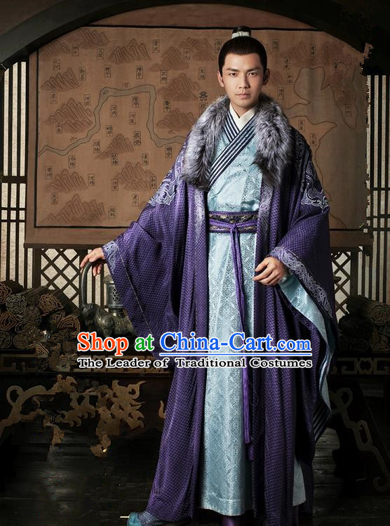 Traditional Chinese Ancient Men Costumes, Ancient Chinese Cosplay General Swordsmen Knight Costume Complete Set for Men