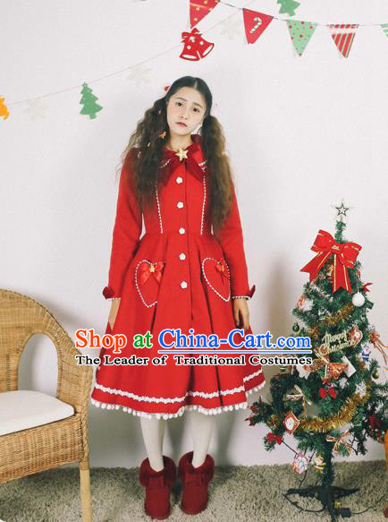 Traditional Classic Elegant Women Costume Complete Set Woolen Dust Coat, Restoring Ancient Wool Long Coat for Women