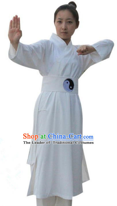 Traditional Chinese Wudang Uniform Taoist Uniform Linen Priest Frock Kungfu Kung Fu Clothing Clothes Pants Slant Opening Shirt Supplies Wu Gong Outfits, Chinese Tang Suit Wushu Clothing Tai Chi Suits Uniforms for Women