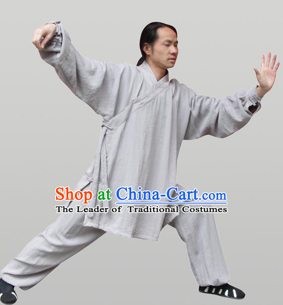 Traditional Chinese Wudang Uniform Taoist Uniform Thicken Linen Slant Opening Priest Frock Complete Set Kungfu Kung Fu Clothing Clothes Pants Slant Opening Shirt Supplies Wu Gong Outfits, Chinese Tang Suit Wushu Clothing Tai Chi Suits Uniforms for Men