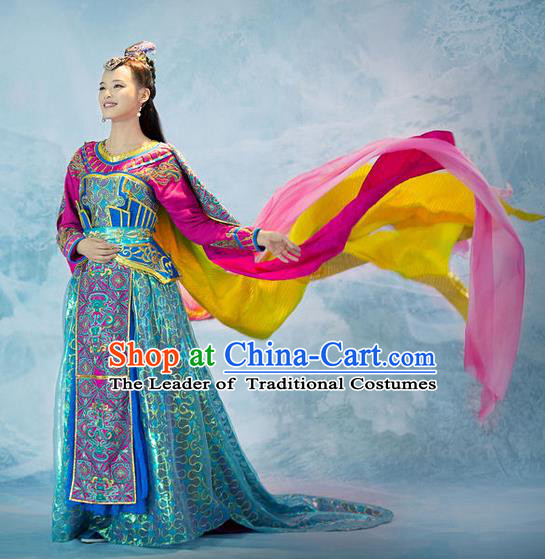 Traditional Chinese Minority Nationality Costumes Ancient Imperial Princess Wedding Costumes, Ancient Chinese Cosplay Queen Princess Costume and Hair Accessories Complete Set for Women