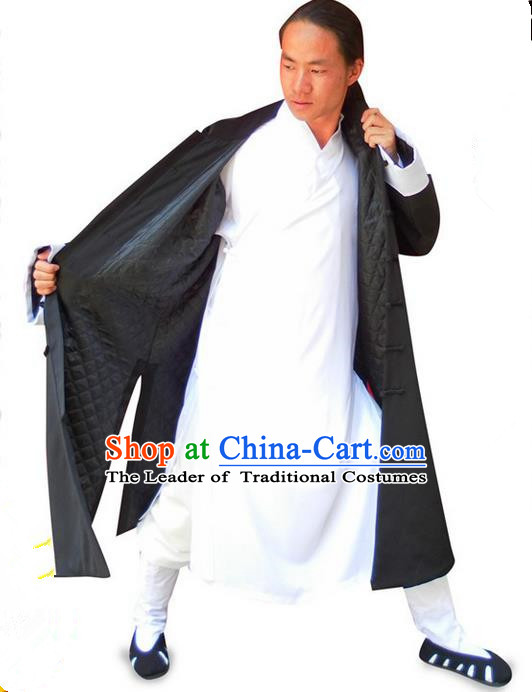 Traditional Chinese Wudang Uniform Taoist Uniform Linen Cotton Wadded Robe Priest Frock Complete Set Kungfu Kung Fu Clothing Clothes Pants Slant Opening Shirt Supplies Wu Gong Outfits, Chinese Tang Suit Wushu Clothing Tai Chi Suits Uniforms for Men