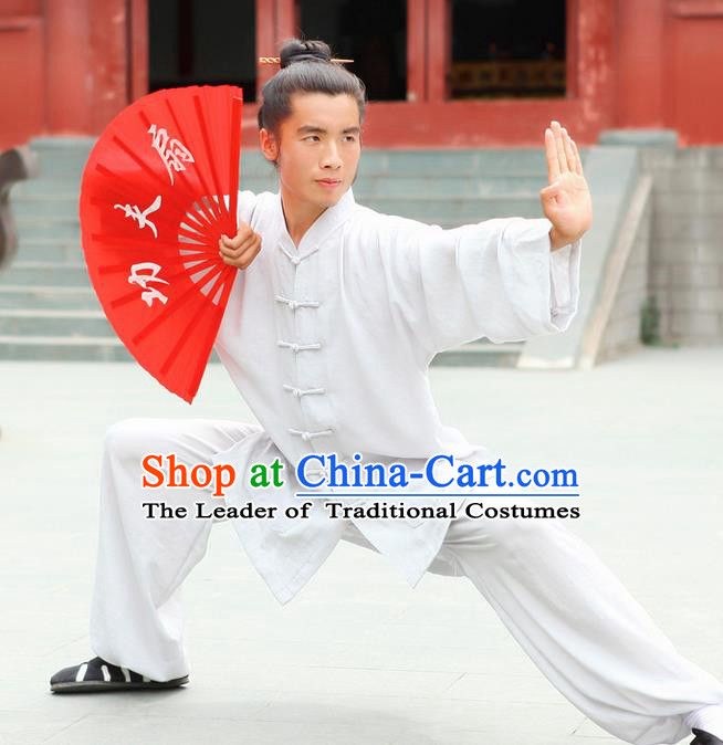 Traditional Chinese Wudang Uniform Taoist Uniform Linen Priest Frock Complete Set Kungfu Kung Fu Clothing Clothes Pants Slant Opening Shirt Supplies Wu Gong Outfits, Chinese Tang Suit Wushu Clothing Tai Chi Suits Uniforms for Men