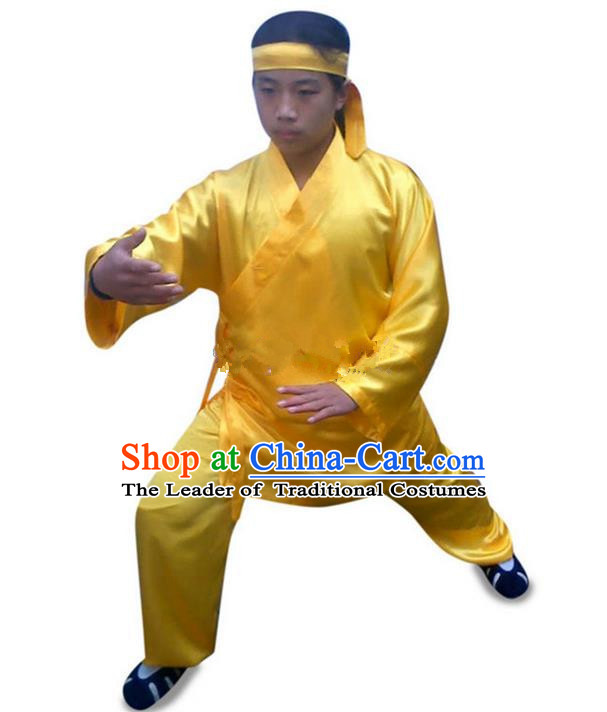 Traditional Chinese Wudang Uniform Taoist Uniform Changeable Silk Priest Frock Complete Set Kungfu Kung Fu Clothing Clothes Pants Slant Opening Shirt Supplies Wu Gong Outfits, Chinese Tang Suit Wushu Clothing Tai Chi Suits Uniforms for Men