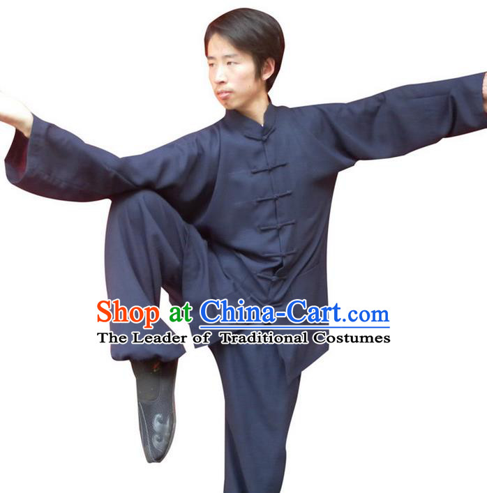 Traditional Chinese Wudang Uniform Taoist Uniform Priest Frock Complete Set Kungfu Kung Fu Clothing Clothes Pants Slant Opening Shirt Supplies Wu Gong Outfits, Chinese Tang Suit Wushu Clothing Tai Chi Suits Uniforms for Men