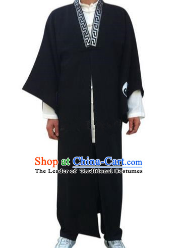 Traditional Chinese Yin Yang Wudang Mountain Taoist Clothes Linen Priest Frock Complete Set Kungfu Kung Fu Long Robe Clothing Slant Opening Shirt Supplies Wu Gong Outfits, Chinese Tang Suit Wushu Clothing Tai Chi Suits Uniforms for Men