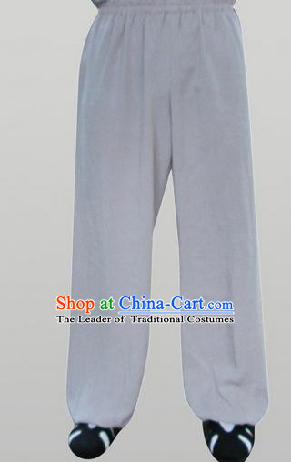 Traditional Chinese Wudang Uniform Taoist Linen Pants Wu Gong Trousers, Chinese Tang Suit Wushu Clothing Tai Chi Bloomers for Men