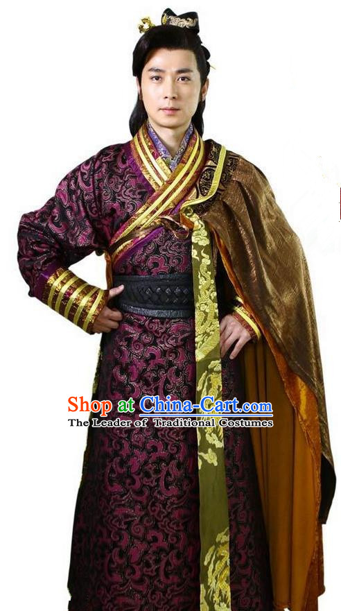 Traditional Chinese Ancient Dragon Emperor Men King Costumes, Chinese Emperor Clothes Complete Set for Men