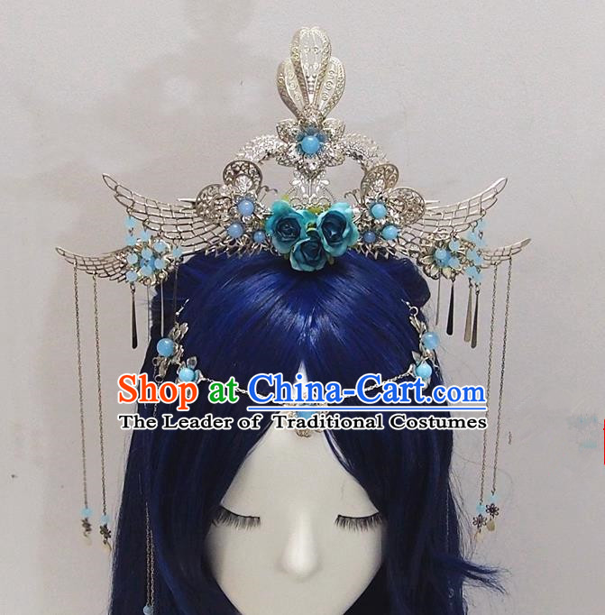 Traditional Chinese Ancient Jewelry Accessories, Ancient Chinese Imperial Princess Wedding Hair Step Shake Phoenix Coronet, China Wedding Bride Hairpin for Women