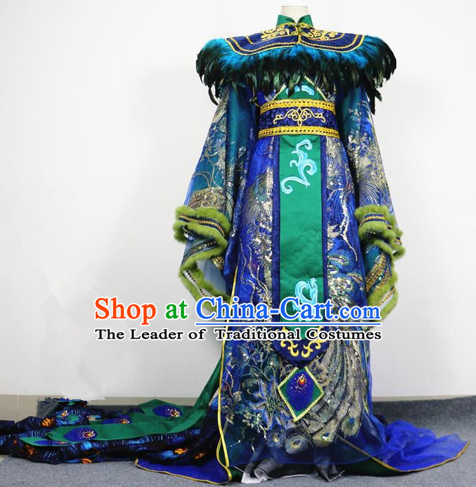 Traditional Chinese Ancient Dragon Emperor Men King Costumes, Chinese Emperor Peacock Clothes Complete Set for Men