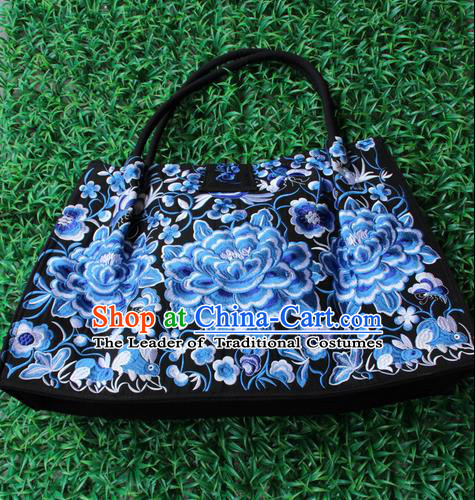 Traditional Chinese Miao Nationality Palace Handmade Double-Sided Embroidery Handbag Hmong Handmade Embroidery Bags for Women