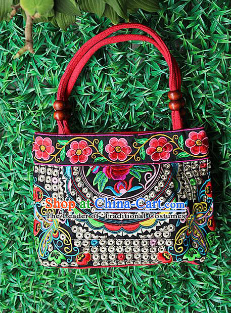 Traditional Chinese Miao Nationality Palace Handmade Double-Sided Embroidery Handbag Hmong Handmade Embroidery Canvas Single Shoulder Bags for Women