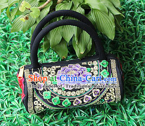 Traditional Chinese Miao Nationality Palace Handmade Four-Sided Embroidery Peony Handbag Hmong Handmade Embroidery Canvas Bags for Women