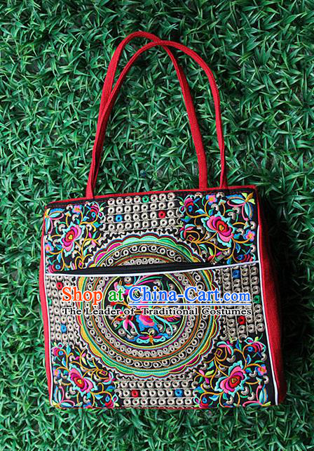 Traditional Chinese Miao Nationality Palace Handmade Single-Sided Embroidery Butterfly Handbag Hmong Handmade Embroidery Canvas Single Shoulder Bags for Women